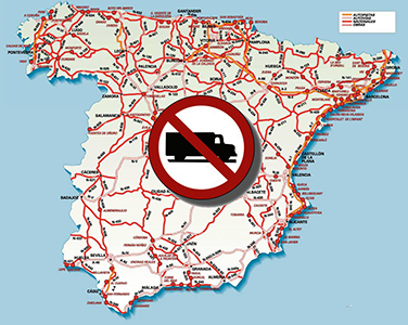 Restricciones a la circulación en España para vehículos de transporte de mercancías en 2016
